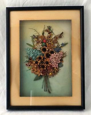 "Antique Dried Flower Shadowbox Victorian Style Black Frame 12.75"" x 9.75"""