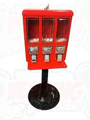 Metal Triple Vending Gumball & Candy Machine .25 Vend - Brand New