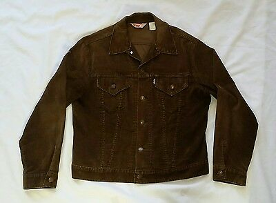 Vintage Levis Corduroy Dark Brown Men's Trucker Style Jacket 42  Made In Usa