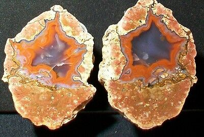 OCL - EX-LG MEXICAN RED HOT AGATE THUNDEREGG PAIR aka BERRENDO AGATES - 2.62 lb
