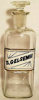 Handsome Antique Glass APOTHECARY JAR Pharmacy Cabinet BOTTLE & STOPPER