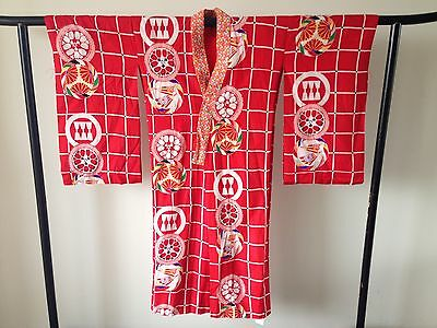 Vintage Japanese Decorative Silk  Kimono Robe One of a Kind Hand Made