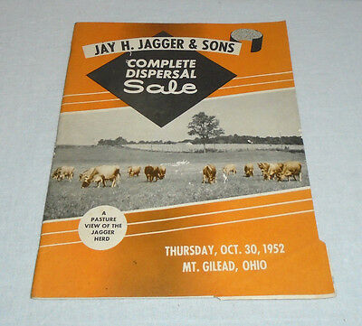 Vintage 1952 Jagger & Sons Jersey Cattle Cow Dispersal Sale Catalog Mt Gilead Oh