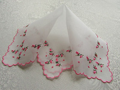 """Vintage White Hankie with Embroidered Pink Rose Buds """"Unused"""""""