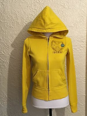 PINK Victoria Secret Womens Yellow Love Zip up Hoodie Sz XS Extra Small 86 Peace