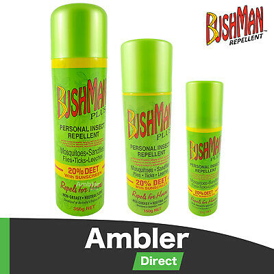 Bushman Plus Aerosol Insect Bug Repellent 20% Deet with Sunscreen 50g 150g 350g
