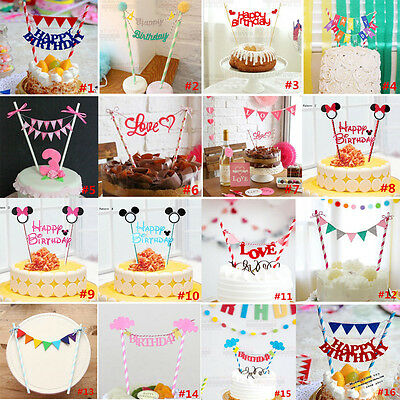 Baby Birthday Cupcake Toppers Flags Bunting Banner Party Wedding Cake Decoration