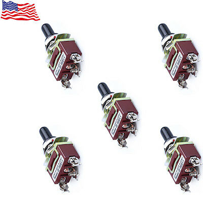 5-Pack Heavy Duty 20A 125V SPDT 3 Term ON-OFF-ON Momentary Toggle Switch Hot