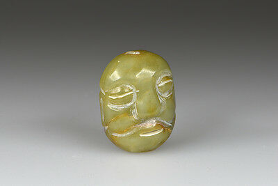An Ethnic Chinese Green Jade Bust Head Ornament Pendant W. Large Nose