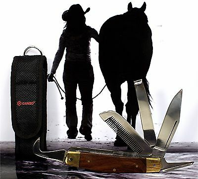 HORSEWOMAN'S KNIFE with BLACK POUCH! Great Value for Genuine Grade 5 in 1 tool!