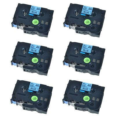 6PK Black on Blue Label Tape Compatible for Brother TZ TZe 531 P-Touch 26.2ft