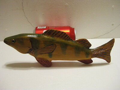Hand Carved Wood Fish Decoy Signed whaleye perch