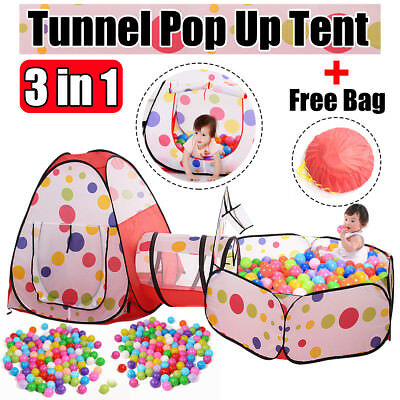 3in1 Toddler Tunnel Pop Up Play Tent Playhouse Baby Kids Play Folding Toy Gift