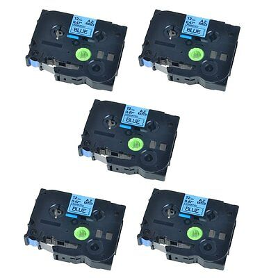 5PK 12mm Black on Blue Lable Tape TZ TZe-531 For Brother 2310 P-touch Printer