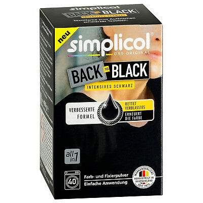 SIMPLICOL BACK TO BLACK Textilfarbe intensives schwarz 750g Farb u. Fixierpulver
