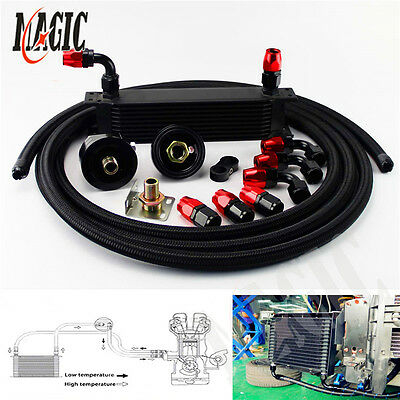 10 Row Universal Engine Oil Cooler + Filter Relocation + 5M An10 Oil Line Kit