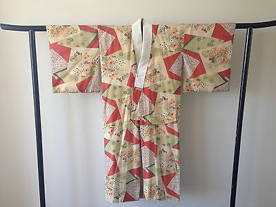 Japanese Decorative Cotton Vintage Kimono Robe One of a Kind Hand Made Antique