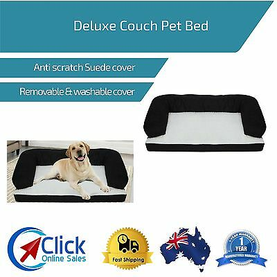 Deluxe Couch Pet Bed Bolster Soft Dog Cat Sofa Warm Cushion Fleece Washable
