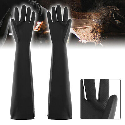 Latex Gauntlets 60cm Long Gloves Industry Anti Chemical Acid Alkali Rubber Black
