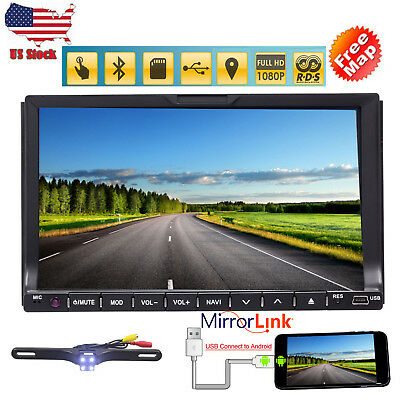"""7"""" TouchScreen 2Din Radio Stereo In Dash GPS Navigation HD Car DVD Player + Cam"""