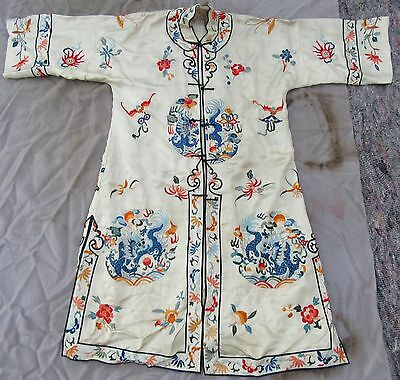 Unusual Pale Yellow Antique Chinese Silk Embroidered Dragon Informal Robe