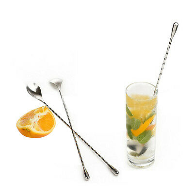 Cocktail Drink Mixer Stainless Steel Stirring Mixing Spoon Ladle Muddler Bar BN
