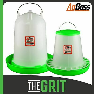 AgBoss 14L Drinker & 8kg Feeder Poultry Set Bird Chicken Hens Birds
