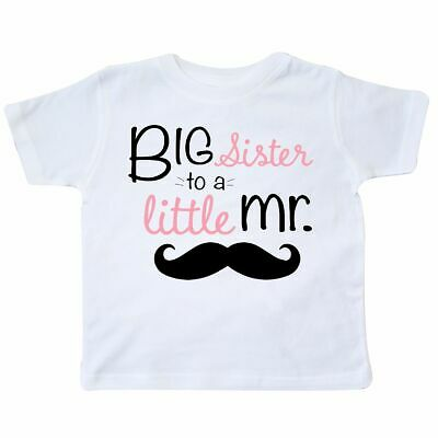 Inktastic Big Sister To A Little Mr. Toddler T-Shirt Children White Sis Mustache