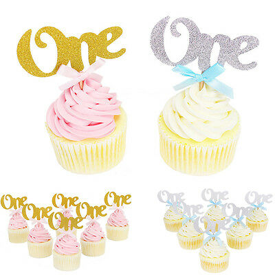 6Pc One Year Birthday Gold Silver Cupcake Cake Toppers Party Decoration Supplies