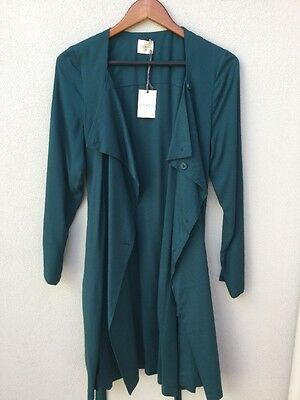 Mesop Green Trench Coat Long Jacket Size 10