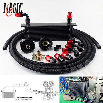 13 Row Universal Engine Oil Cooler + Filter Relocation + 5M An10 Oil Line Kit