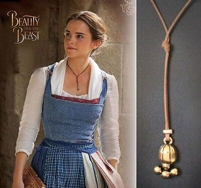 Beauty and the Beast Necklace Belle's Lariat with Leather Rope Cosplay Pendant