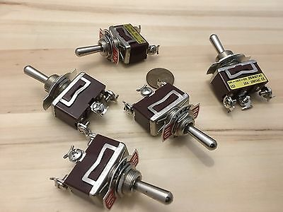 5 Pieces RED 3 PIN momentary Toggle switch (ON)OFF(ON)12v 125v spring return B5