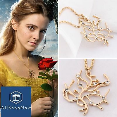 Beauty and the Beast Belle Rose Tree Pendant & Necklace with Crystals Cosplay