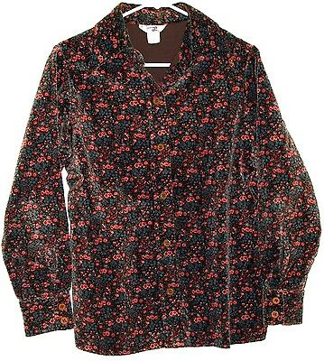 Vintage 1970s Levis Girls Button Front Long Sleeve Floral Shirt Size 11/12