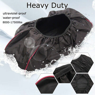 600D Waterproof Soft Winch Dust Cover 8,000-17,500 lbs Trailer ATV SUV Black