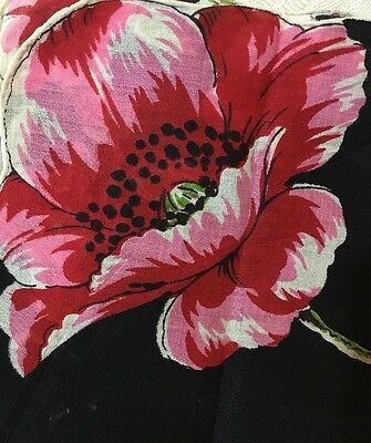 """ANT French MOURNING HANDKERCHIEF with Lovely POPPIES. EXQUISITE! 12"""" x 12 1/2"""""""