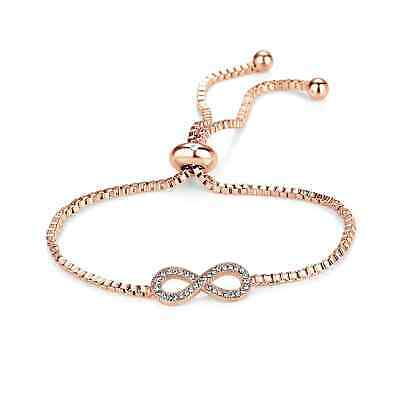 Rose Gold Infinity Friendship Bracelet with Crystals from Swarovski® in Gift Box