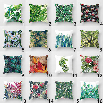 Fashion Tropical Flower Leaves Waist Throw Pillow Case Cushion Cover Home Decor