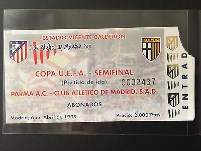1998-99 UEFA Cup. Semifinals. Parma Ac - At. Madrid.Ticket.1st leg