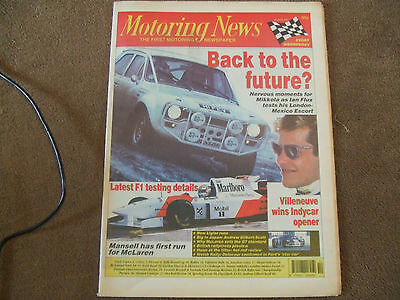 Motoring News 8 March 1995 Escort RS1600 Test Valentine Rally Miami IndyCar