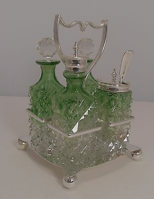 Antique English Cut Crystal Green To Clear Table Cruet c.1890