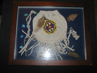VINTAGE MEDICINE BAG By ZUNI ARTIST CHARLIE TWO BEARS-SIGNED-DATED-FRAMED