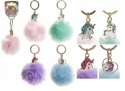 Unicorn Pom Pom Keyring Handbag Charm Assorted Colours Available