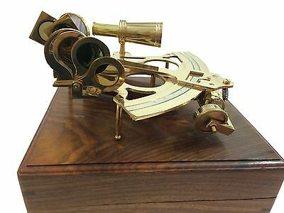 "8"" Nautical Sextant Brass Marine Ship Sextant Antique German Sextant Wooden Box"