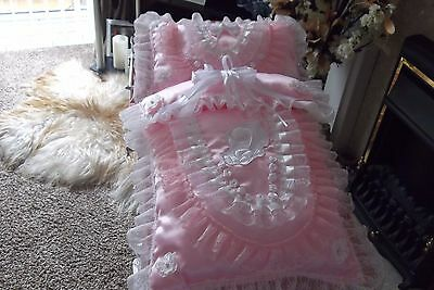 """Hand made """", Baby girls 2 piece pram set satin in baby pink.with flowers /pearls"""