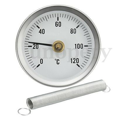PIPE CLIP-ON DIAL THERMOMETER TEMPERATURE TEMP GAUGE WITH SPRING 63mm 0-120º C
