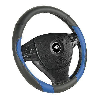 Faux leather Steering wheel cover 37-39cm black-blue with blue Seam