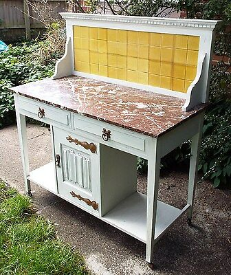 Victorian Art Nouveau Marble & Tiled Washstand Copper Fittings Delivery Possible