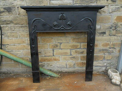 large arts & crafts cast iron fireplace antique fire surround needs work / bolts